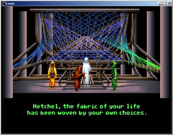 A screencap of Loom, a Lucasfilms Games title from the '90s.