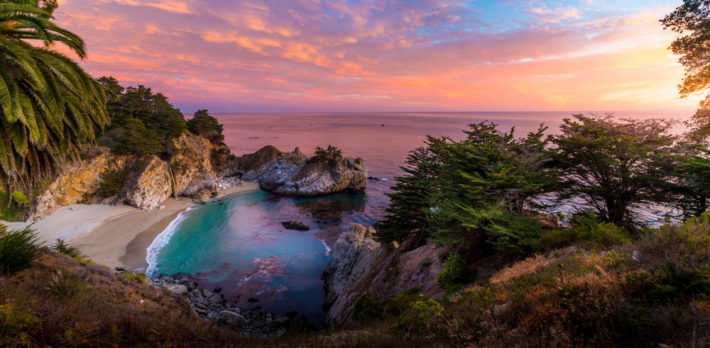 A panorama of the McWays Fall in Big Sur California.