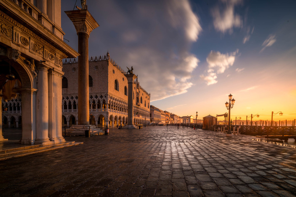 Sun rise on the Saint Marco Plaza in Venice Italy.