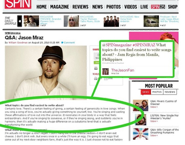 Jason Mraz answers my question. (August 2010)
