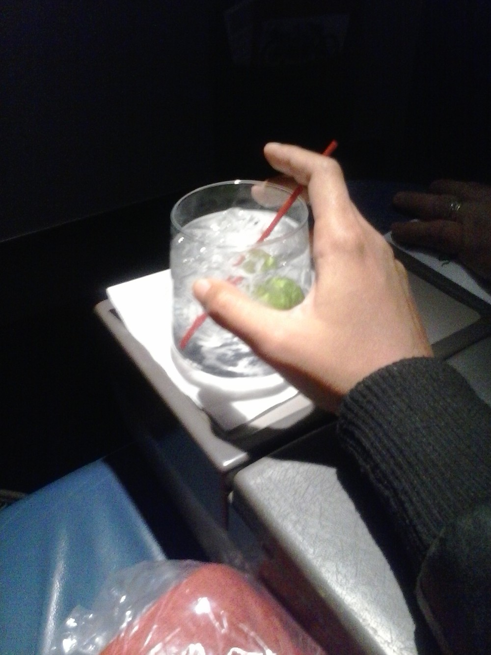 first drink in delta first class.jpg