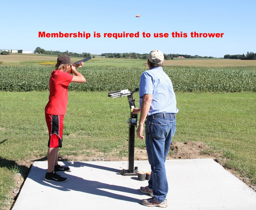 Our club has recently added a  new manual trap thrower.  You must be a member to use this thrower. The thrower is available 7 days a week.