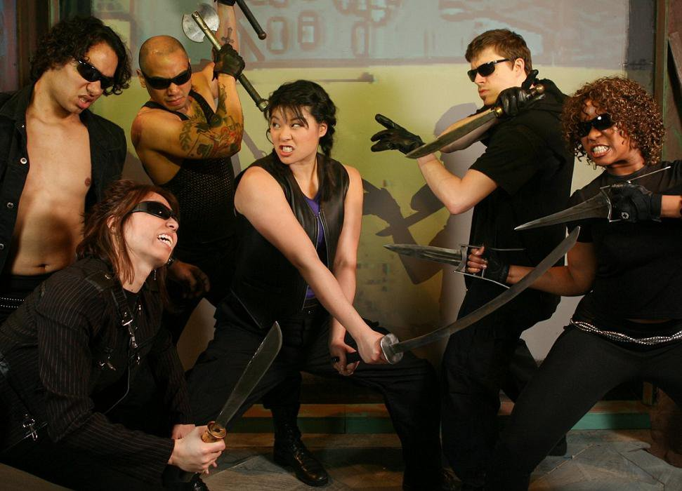 Christine as Dewdrop fighting off kick-ass vampires Glenn Stanton, Megan Tabaque, Paul Tadalan, Zach Livingston, and Anji White!