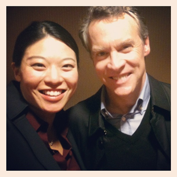 On set with Tate Donovan (aka Edward Bowers)