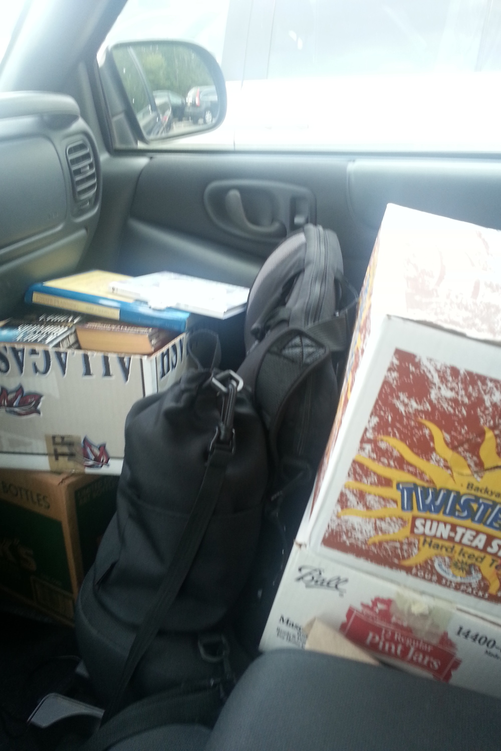 On my way to donate books to the Pemberton library from our book drive.
