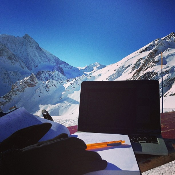My #tempoffice at 3'000m above sea level
