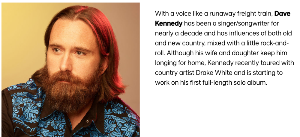Click here  to see the full  Real Country  Dave Kennedy Bio page.