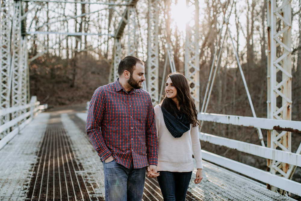 green-lane-park-bridge-lehigh-valley-engagement-photography-walking