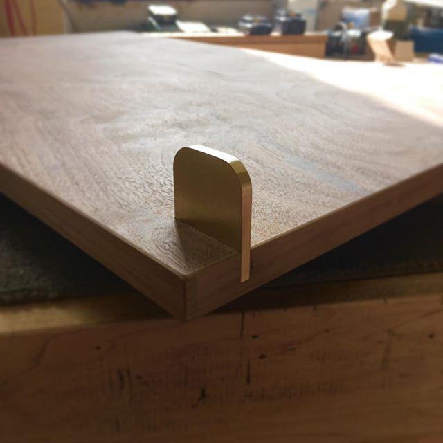 Custom brass pull detail on an upcoming Laska Credenza. #furniture #design #walnut #brass #custom #bespoke #interiordesign #madetoorder #credenza