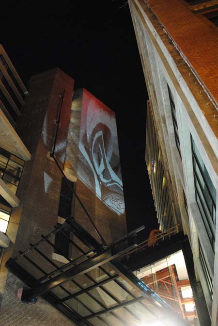 Gastown, Vancouver - February 2010.  Live painting digital projection on Woodwards building.jpg