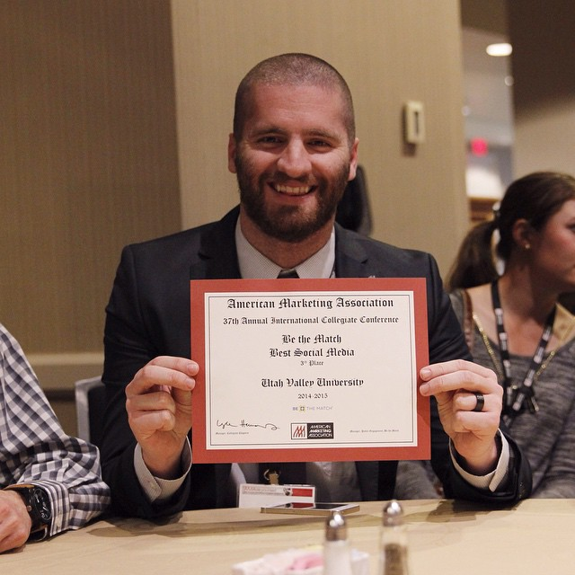 "Chase Adams won third place for best Social Media for ""Be The Match"" campaign at the 2015 ICC in New Orleans.  Check out his video in our youtube channel! #uvuama"