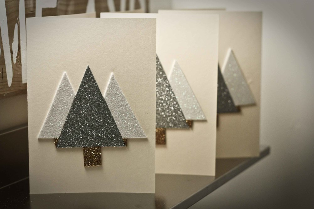 diy glitter christmas cards