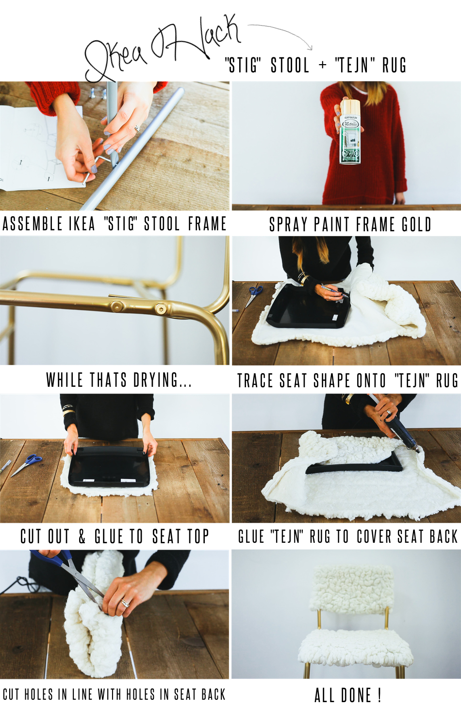 diy ikea hack stig stool tejn rug treasures travels. Black Bedroom Furniture Sets. Home Design Ideas