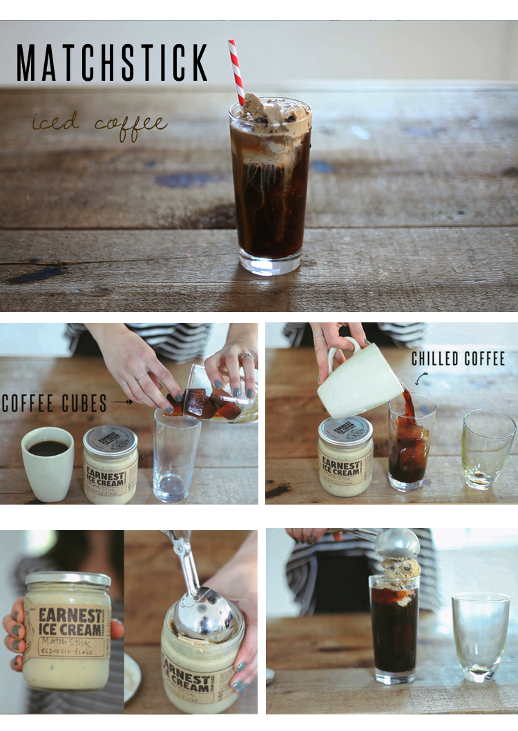 We were so excited when we found out that our favourite ice cream shop was collaborating with one of our favourite coffee shops! Matchstick is just down the street from where I (Lindsay) live and they have incredible coffee, such a beautiful shop, and the kindest employees.  Check out our Iced Coffee & Coffee Iced cubes recipes to help create this drink! Adding a couple scoops of Matchstick Espresso Flake Ice Cream was unlike any iced coffee drink I have ever had! Can't wait to be sipping on these when the sun comes out, all summer long!