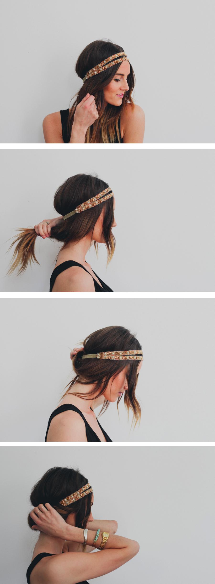 hair tutorial headband tuck treasures travels