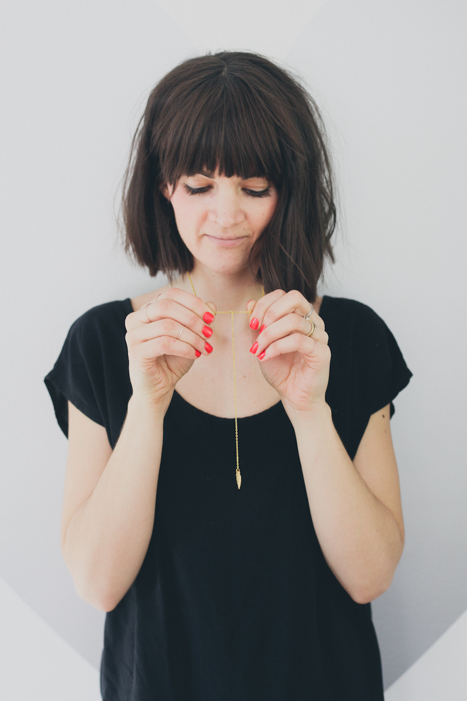 Tegan's Pick -  Gold Feather Drop Necklace