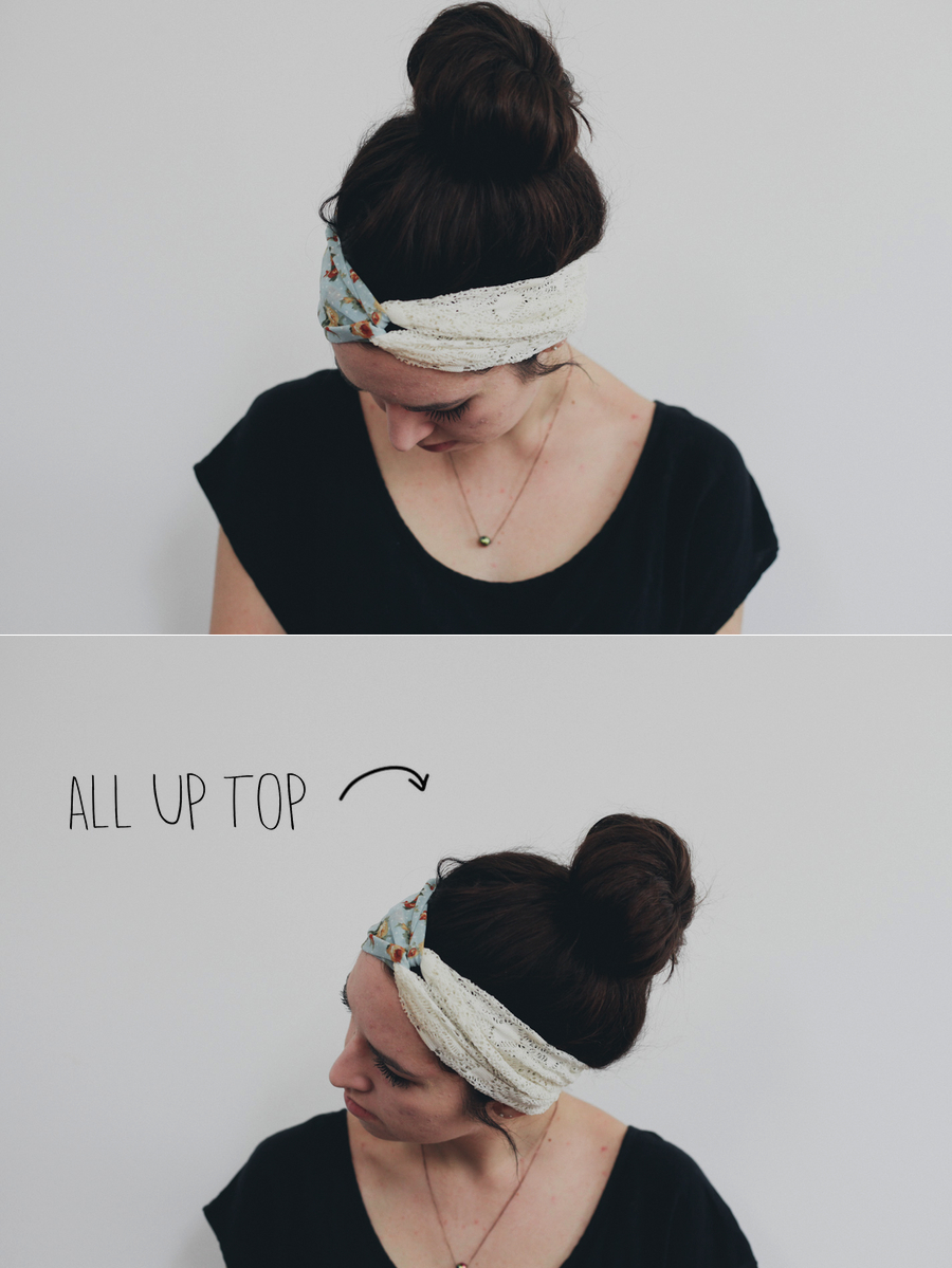 All Up Top // Pull all of your hair up into a top knot (see tutorial here) and then put on the headband along your hairline leaving out a couple soft pieces around your ears.