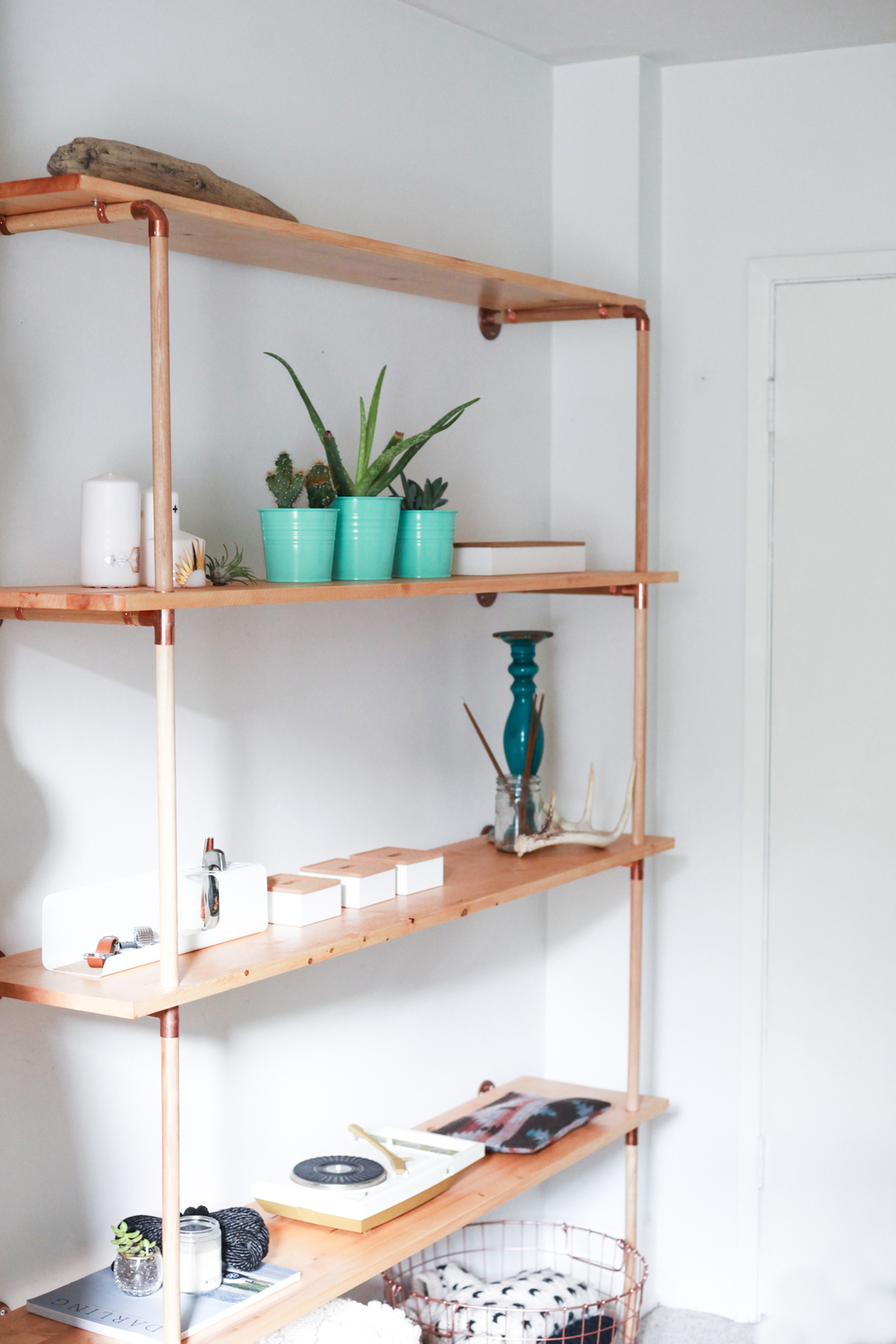 DIY Copper Wood Shelf Treasures Travels