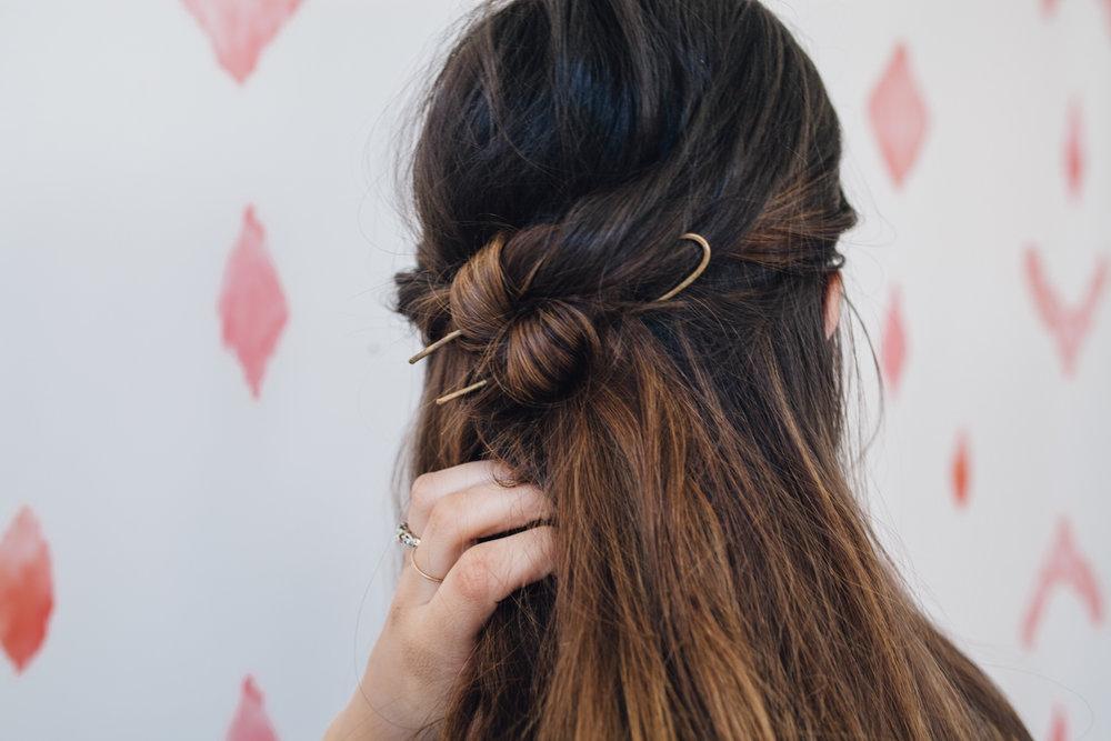 Hair Tutorial Half Up Knot In 4 Easy Steps Treasures Travels