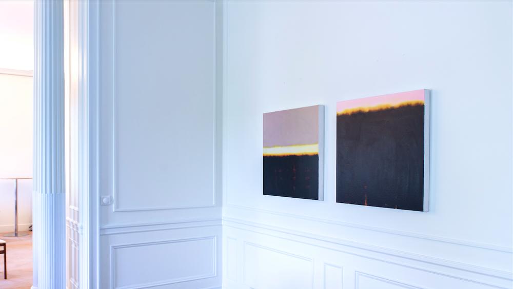 Isca Greenfield-Sanders - Film Edge (Mauve sky Yellow horizon) Film Edge (Pink sky Black water)