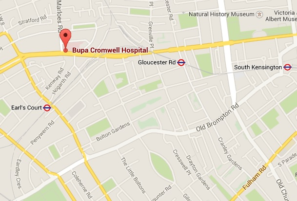 a detailed map of bupa cromwell hospital is available by clicking here