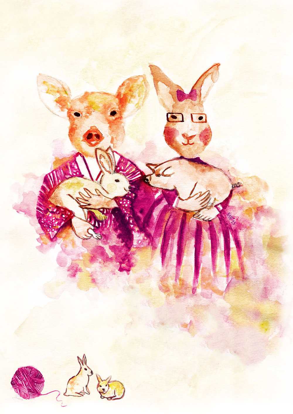BUNNY AND PIGGY  Wedding invitation, watercolour, design