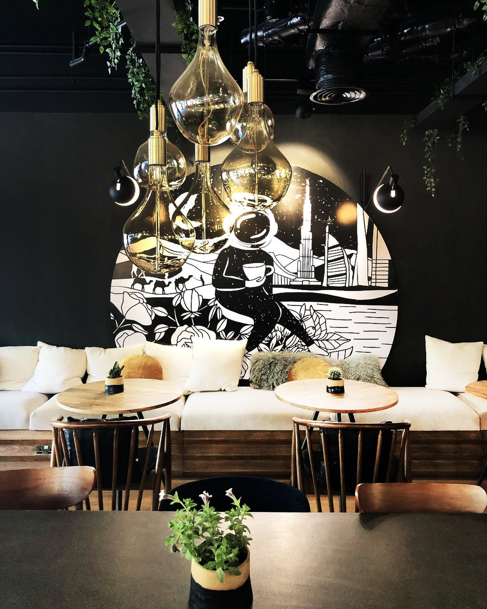 TO THE MOON & BACK COFFEE    *new  mural, illustration