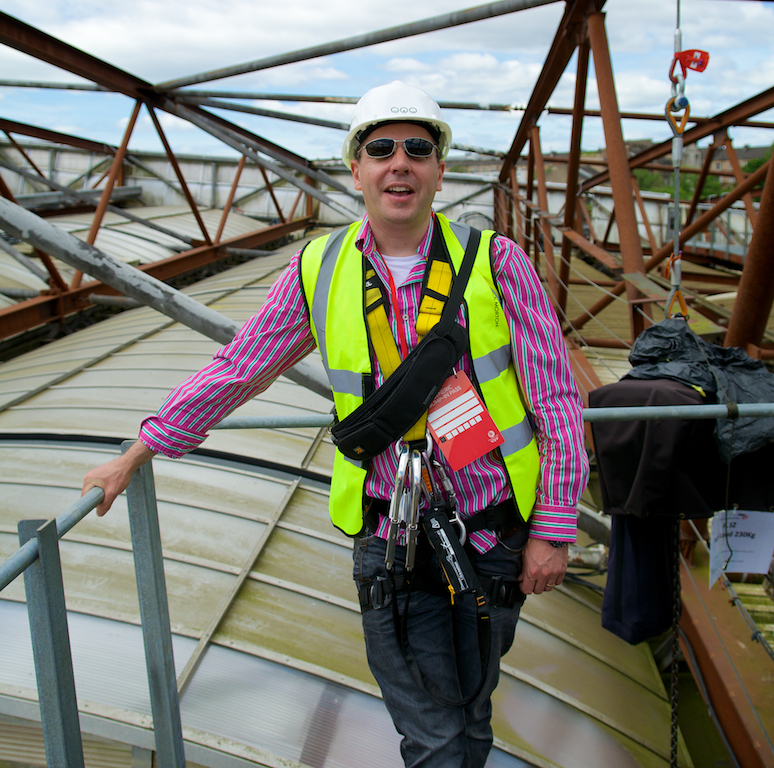 Surveying the roof of Hampden Stadium for the Commonwealth Games Closing Ceremony - July 2014