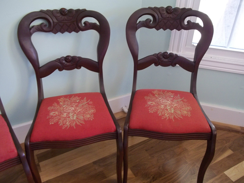 "(4) Victorian ""balloon back"" chairs"