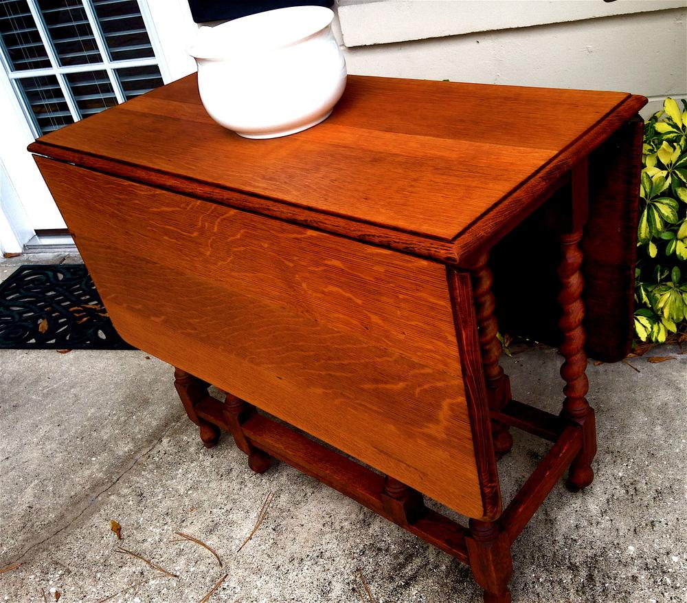 Quarter-sawn oak, double-dropleaf, barley twist, gate-leg table