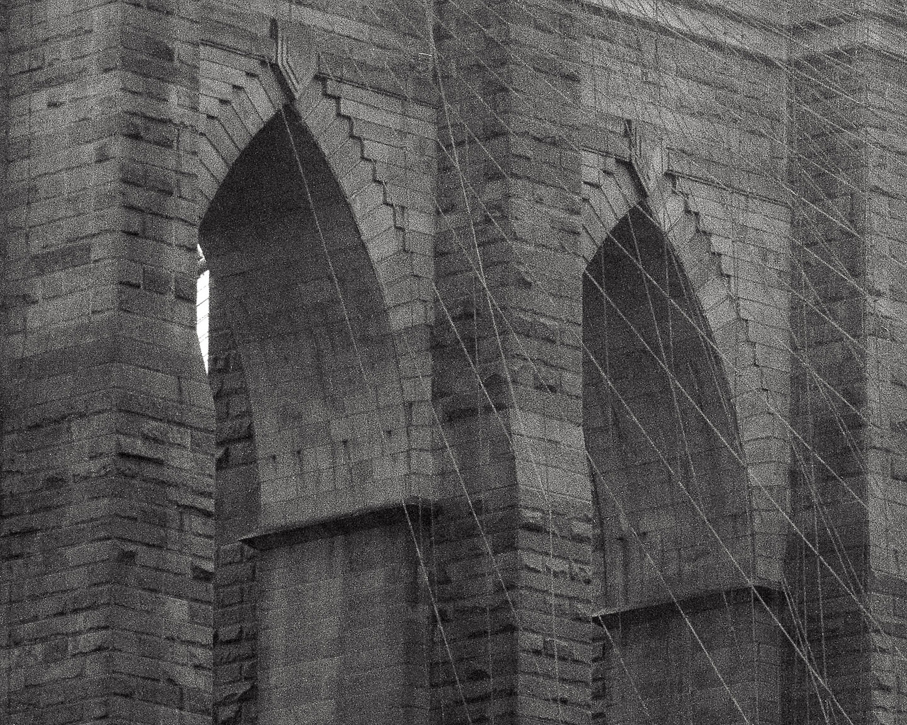 Shot on my first handmade camera. Brooklyn Bridge.