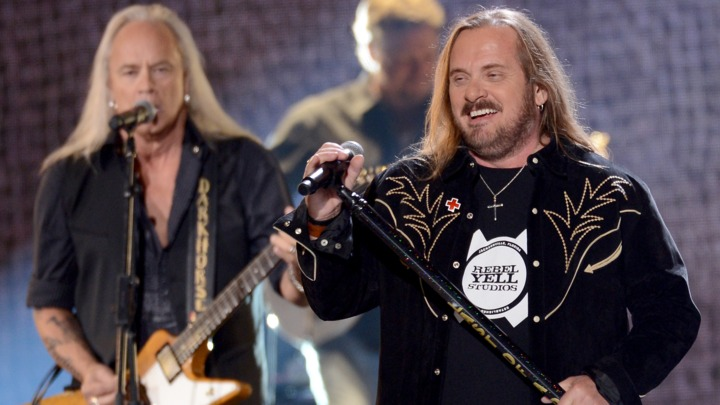 Rickey Medlocke and Johnny Van Zant of Lynyrd Skynyrd perform in Las Vegas Mark Davis/Getty Images