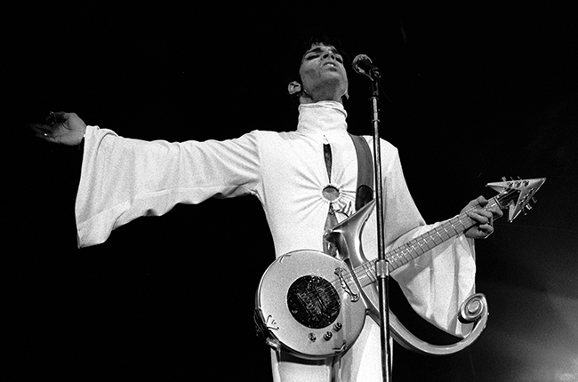 Prince performing in the Netherlands, 1995. Paul Bergen/Redferns