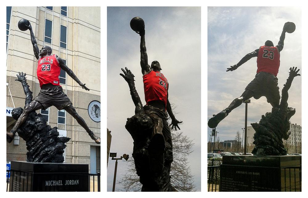 Michael Jordan outside the United Center.
