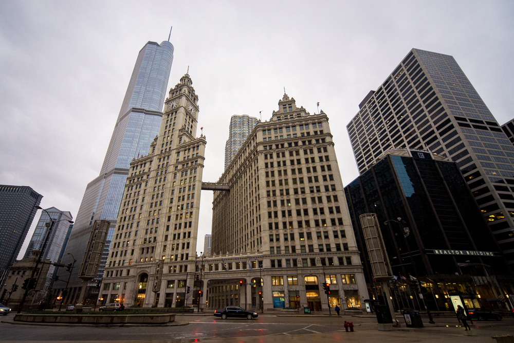 Wrigley Building with Trump Tower