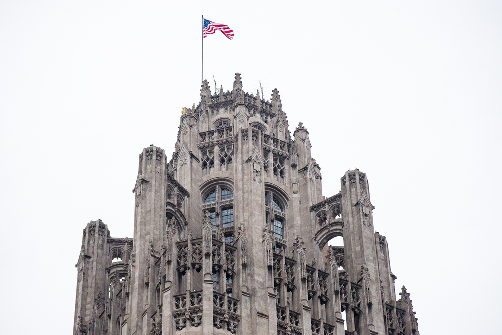 The top of the Tribune Tower