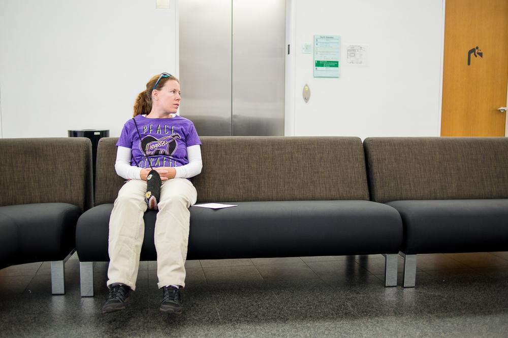 Sarah resting inside the museum