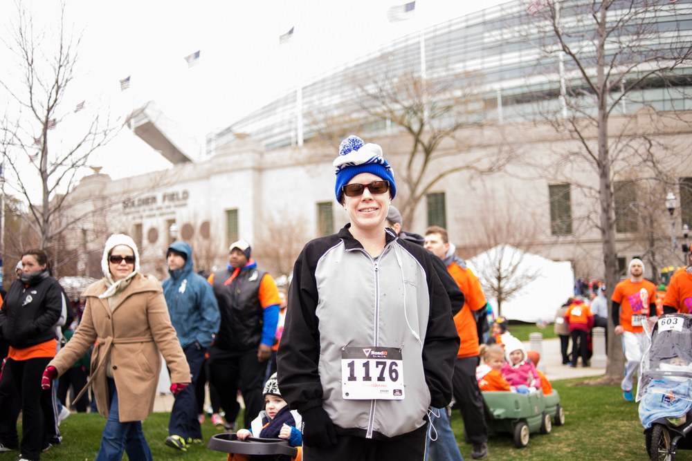 Sarah waiting for the race to start at Soldier Field.