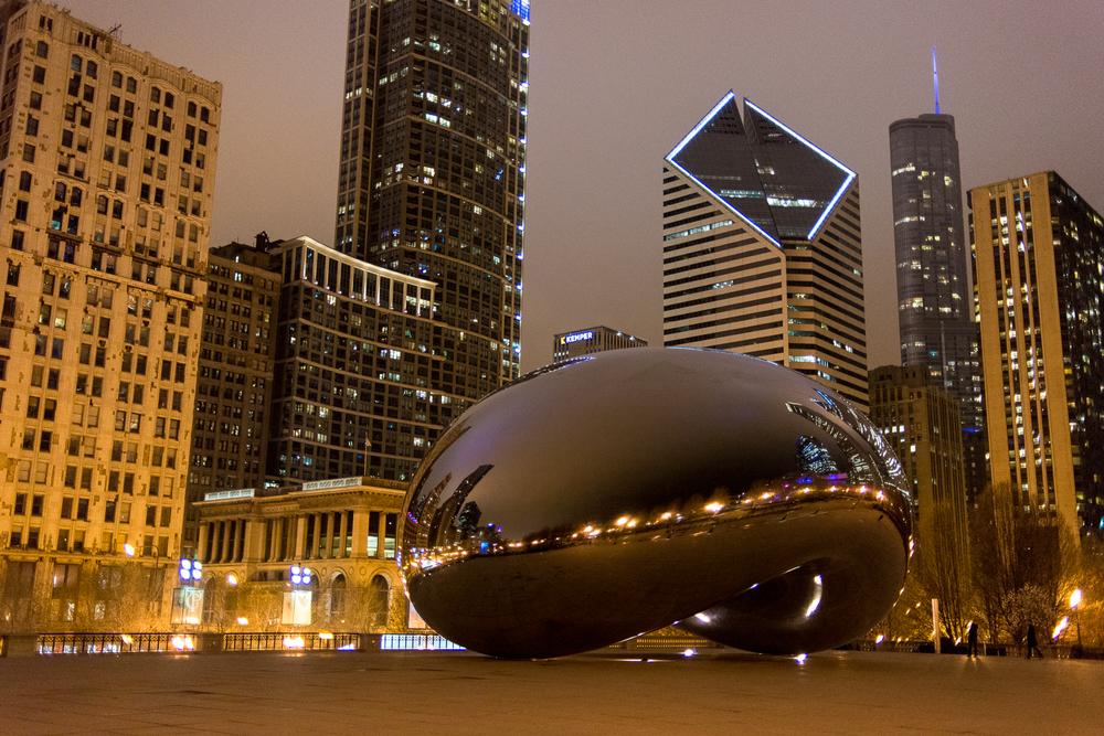 The Bean at night.