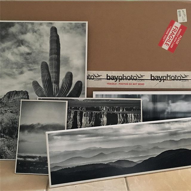 Prints have arrived from @bayphotolab and now are being prepared for the art show @colossustattoo on Saturday in Tempe.  You know one of these fine pieces of work would look amazing in your home.  If not, there will be a lot of awesome work by some outstanding artist for sale too.  #colossustattoo #bayphotolab #blackandwhite #blackandwhitephoto #printsforsale #landscape #abstract #raymondvestalphotography