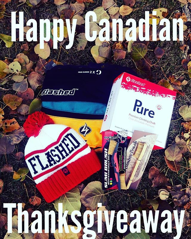 It's Thanksgiving this weekend in Canada, eh! And because of that we want to say thanks to you and are giving away this package for free! Simply tag a friend in the comments below and make sure you're both following our Instagram Account and you're in. The more friends you tag the higher your chance of winning. We're announcing the winner on Tuesday!  #flashed | #flashedclimbing | #thanksgiving | #fall | #giveaway |  #giveaways | #thanks | #free | #love | #movewithconfidence | #climbfreeclimbfearlessly | #highfrictionday | #flashedpodium