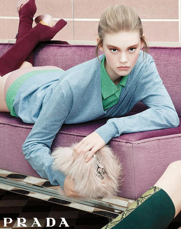 Ondria Hardin for Prada campaign. Hardin is 16-years-old.