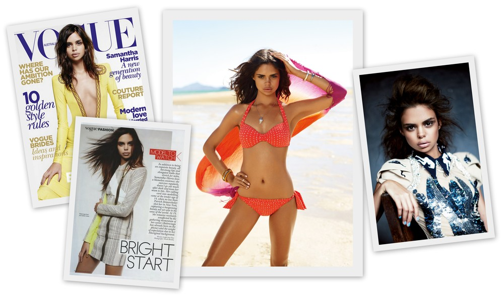 Left to RIght: Samantha Harris' cover and feature in Vogue Australia June 2010; 2010/2011 Sea Folly campaign; Vogue Australia June 2010