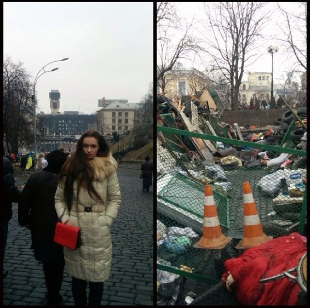Tanya standing in Kiev amidst rubble | Photo courtesy of Tanya Bryk via  instagram.com/tanya_bryk