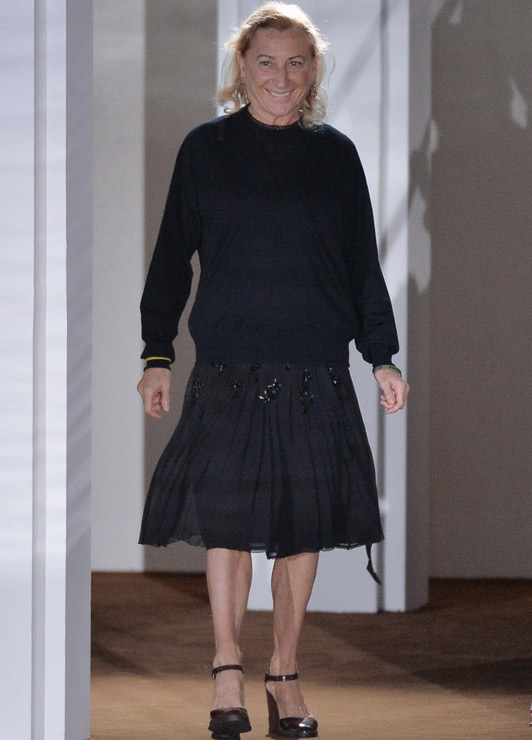 Miuccia Prada at her Spring 2015 Menswear show at Pitti |  Telegraph