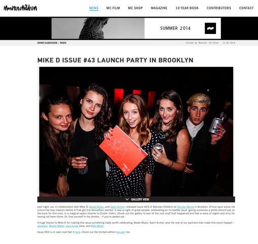 Cailin Russo (Centre) and Jules Newmark (Right) with friends in NYC for the Monster Children Magazine launch party