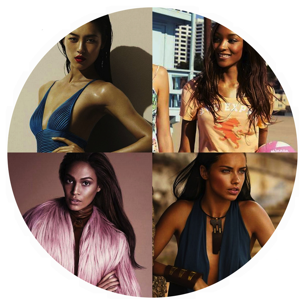 Clockwise from top left: Liu Wen for La Perla Fall/Winter 2014 by Mert Alas and Marcus Piggott; Jourdan Dunn for Express March 2014; Adriana Lima for Donna Karan Spring 2014 by Russell James; Joan Smalls for Gucci Fall 2014 by Mert Alas and Marcus Piggott