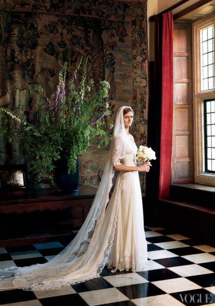 "Wheeler at her wedding, photographed by Robert Fairer, which was featured in Vogue. The original caption reads, ""The bride, in Temperley London, at Chilham Castle,  her family's home  in Kent, England."" Emphasis is my own. 