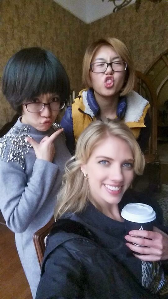 Erin on set, getting ready for another busy day in China