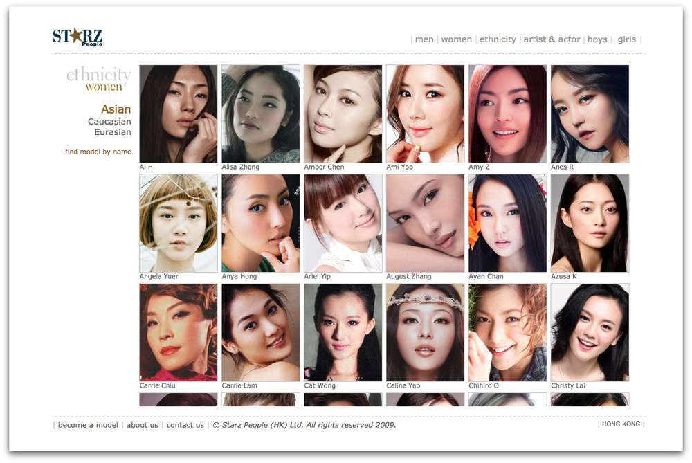 A screen shot of the website of Starz People, a top Hong Kong agency. As per the norm in East Asian markets, models are divided by ethnicity |  Source